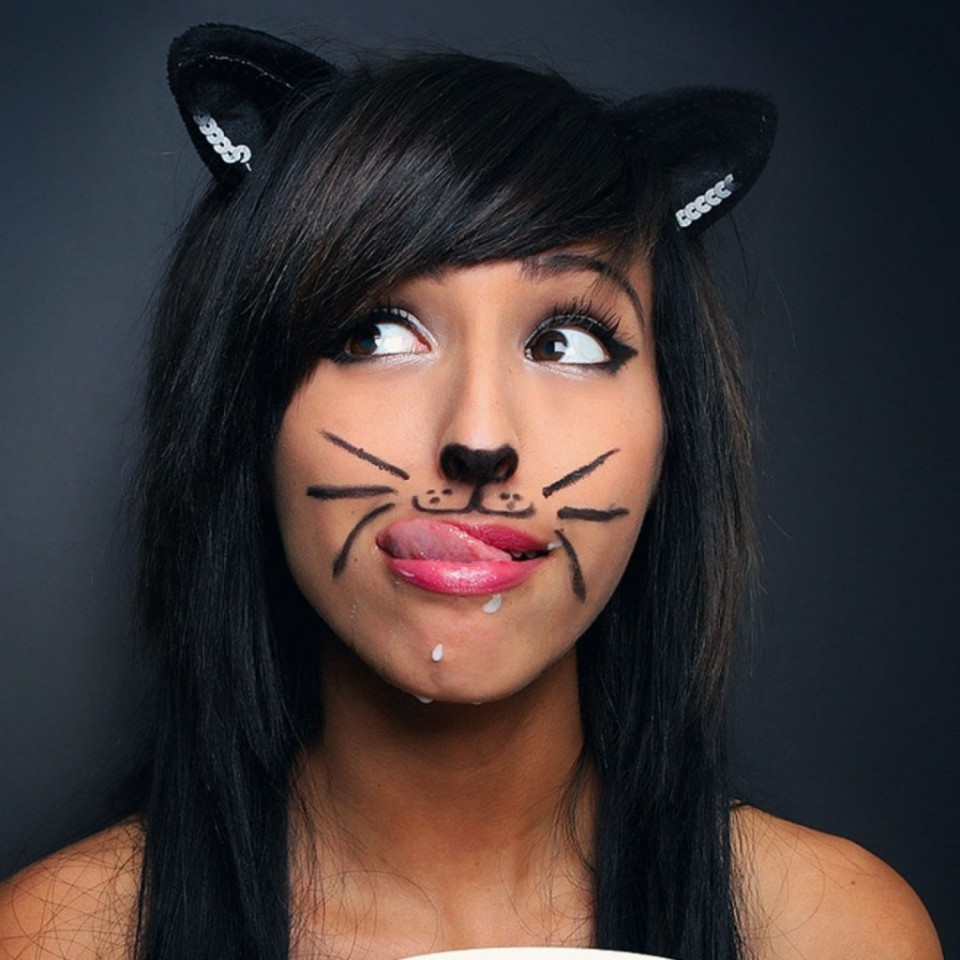 funny woman cat face