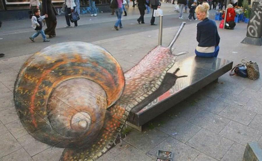 d street art illusions snail
