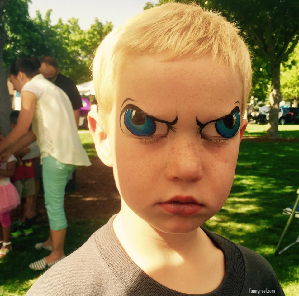 funny kids picture face painting boy eyes anime
