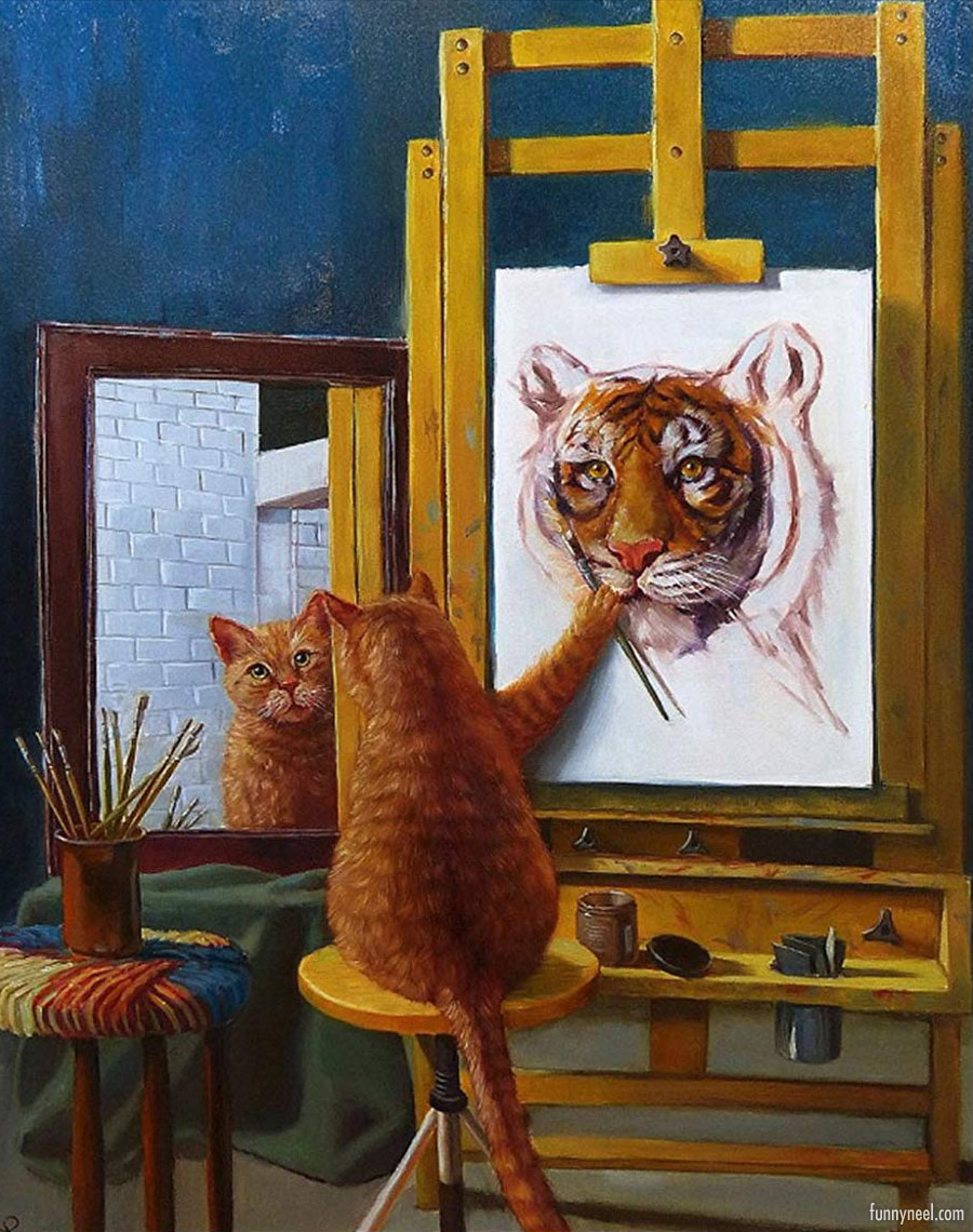 self portrait funny painting art cat tiger