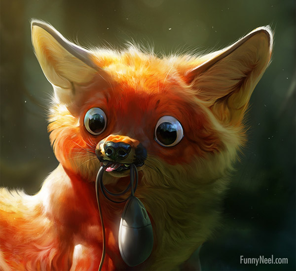 funny digital painting cat mouse