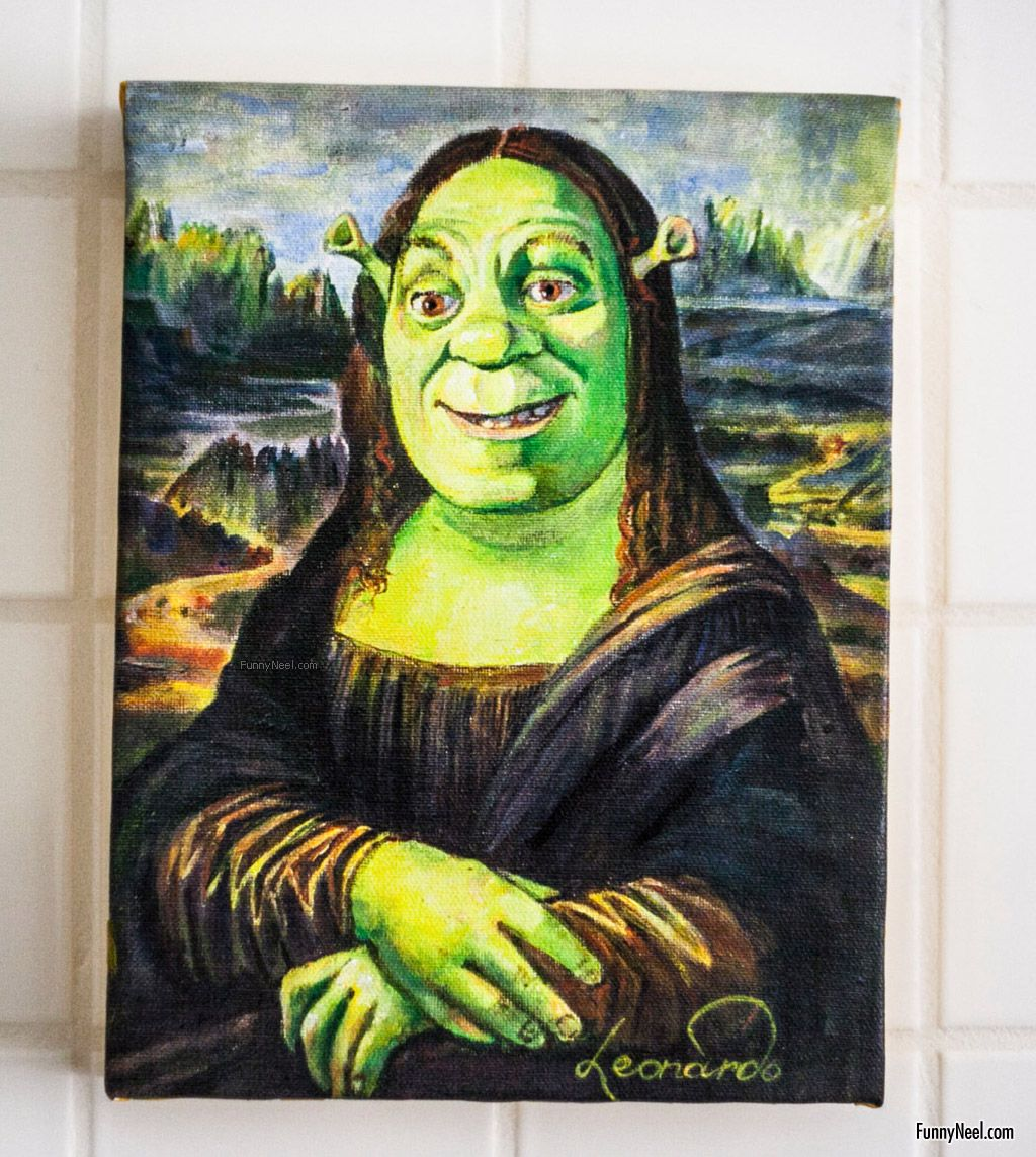 funny painting artwork monalisa shrek