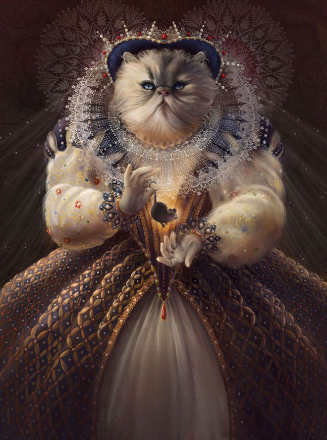funny painting cat queen