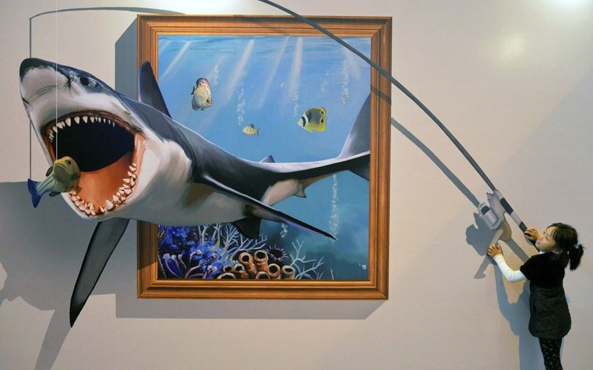 funny paintings 3d shark