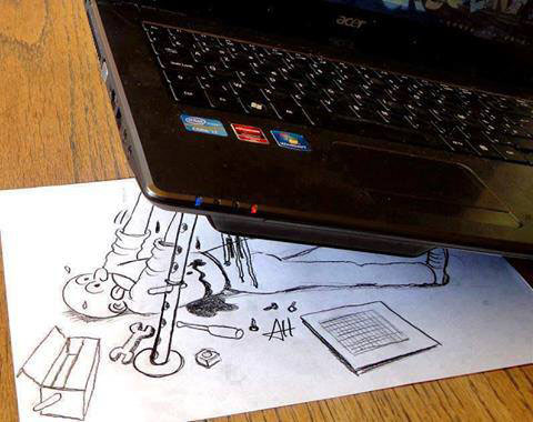 funny cartoons laptop service