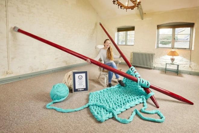 funny world record largest knitting needles by elizabeth bond