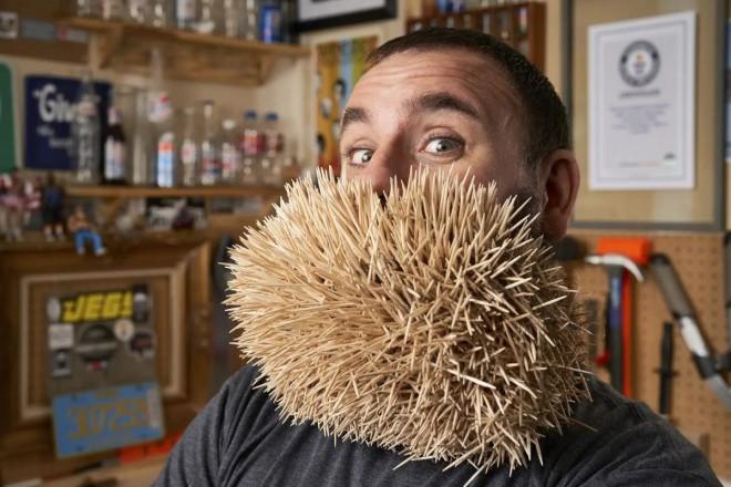 weird world record most toothpicks in beard by joel strasser