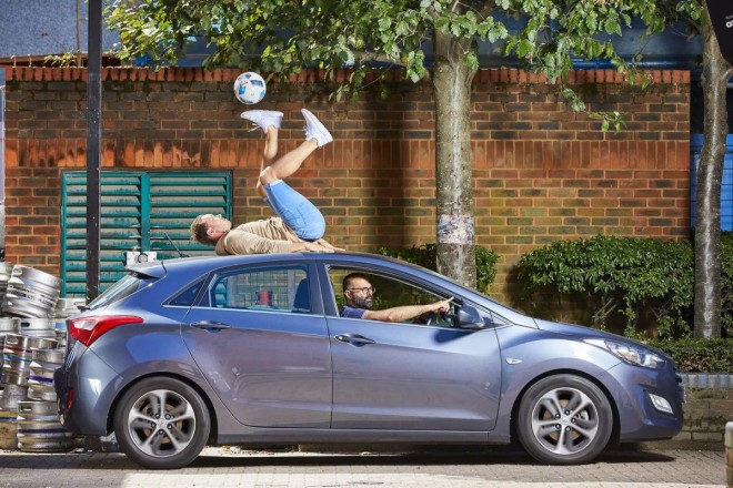 funny world record controlling soccer ball on moving car by ash randall