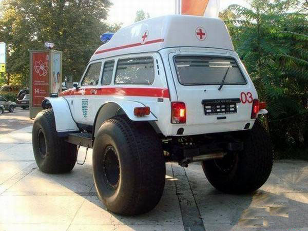 big wheel ambulance weird pictures