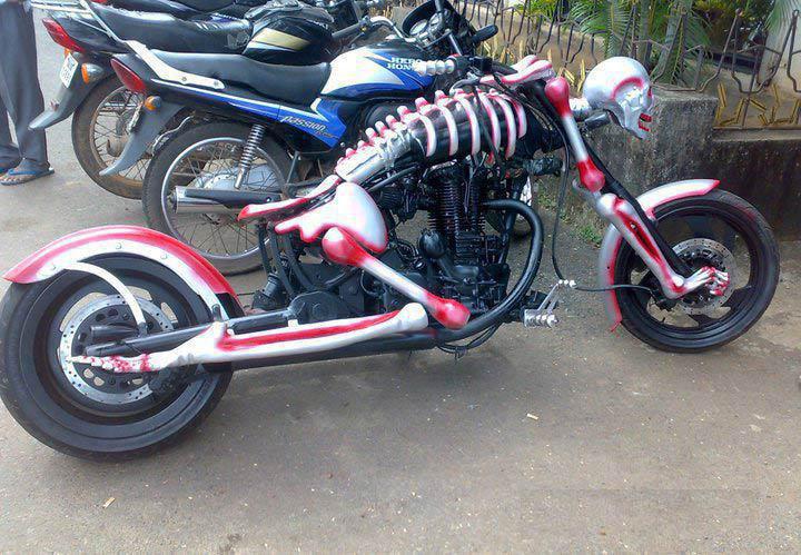 weird pictures skeleton bike