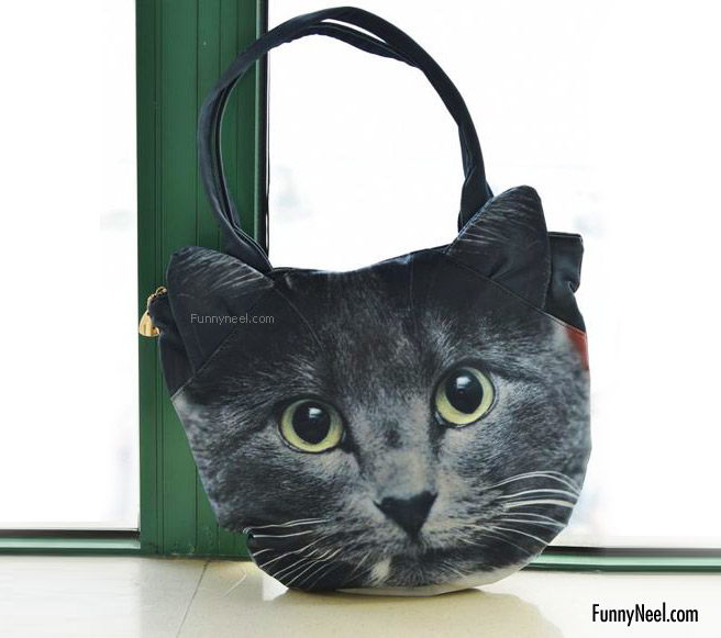 funny handbag ladies crazy black cat