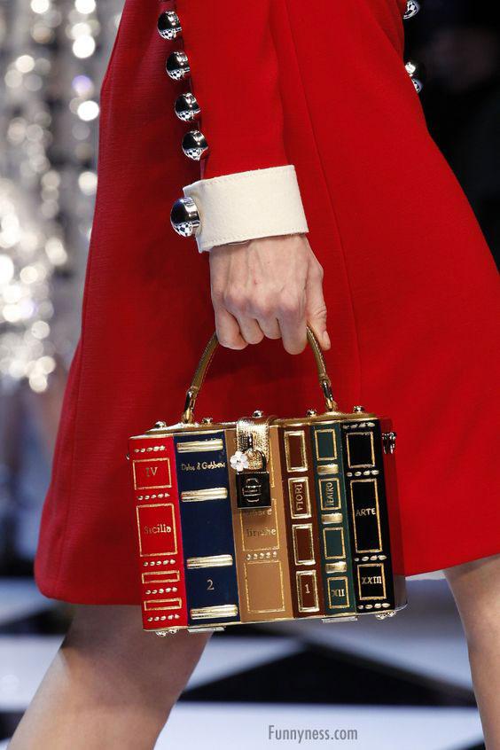 funny handbag ladies crazy book stack