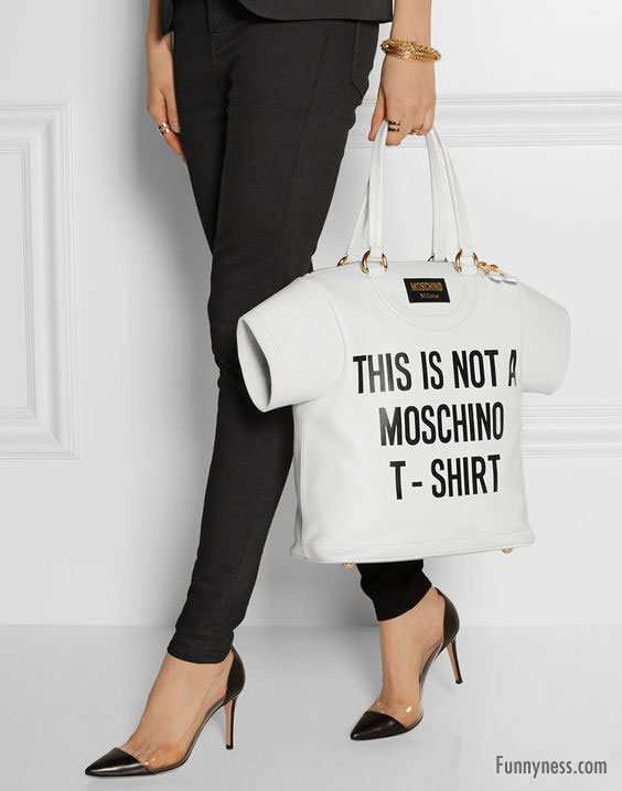 funny handbag ladies moschino t shirt