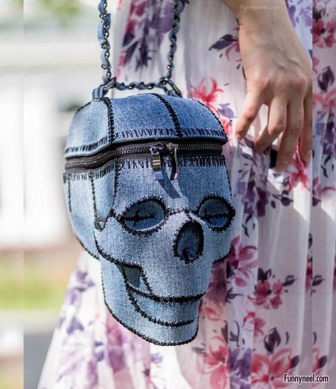 funny handbag ladies skeletal head