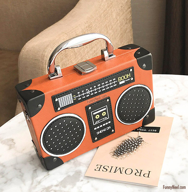 funny laptop bag radio design