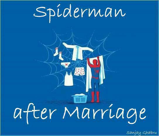funny cartoon spiderman after marriage