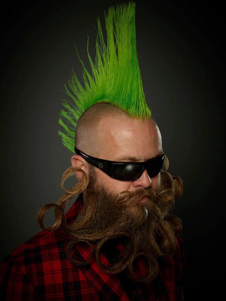 funny beard moustache green hair
