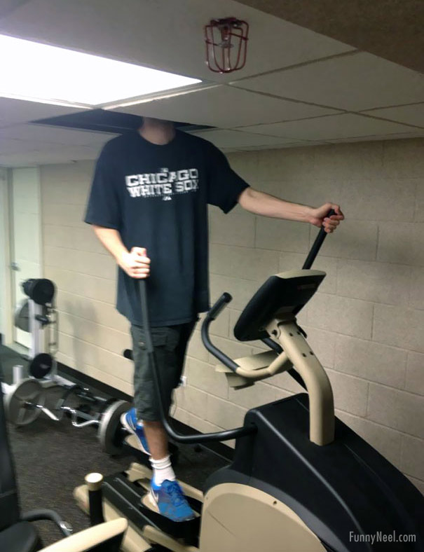 funny gym picture tall man