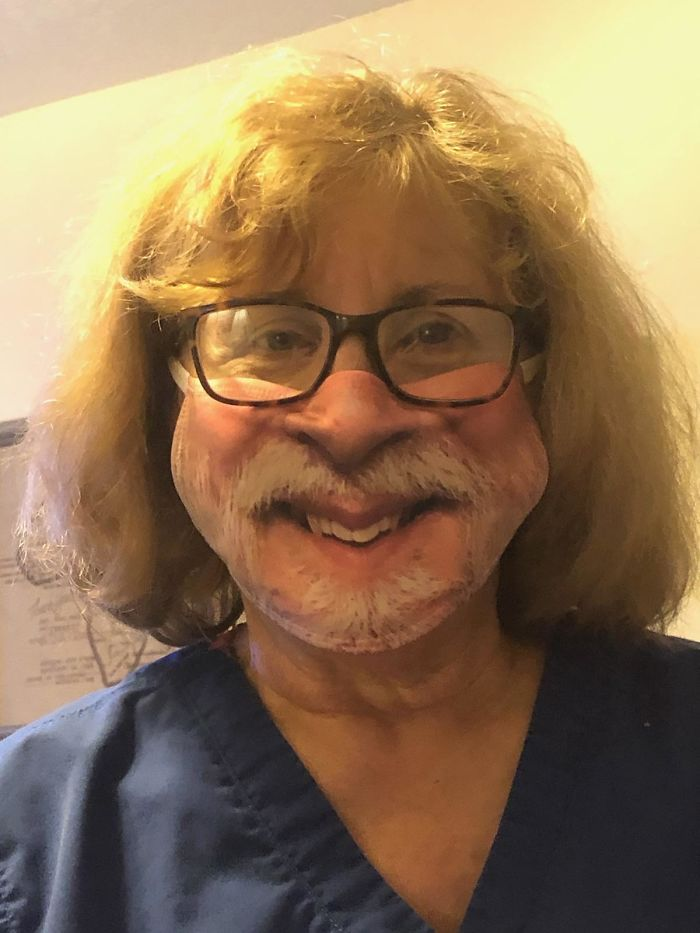 funny picture dad bought mom a new mask