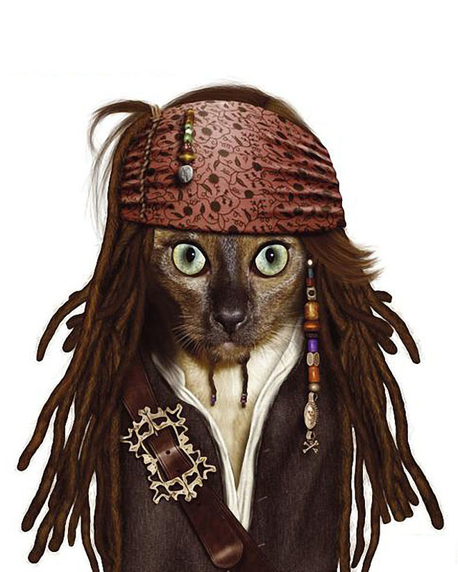 funny  dog costume captain jack sparrow