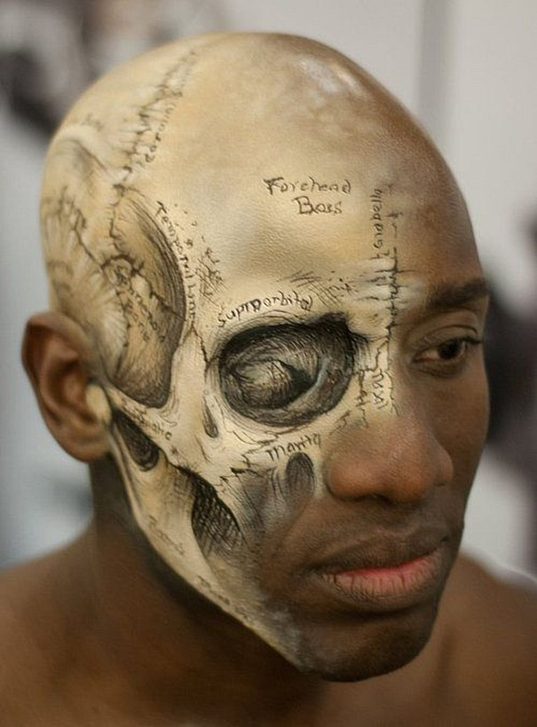 creative skull body art idea