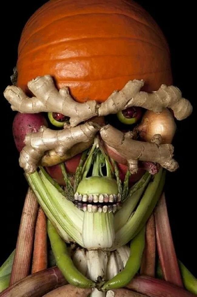 creative vegitable skull art idea