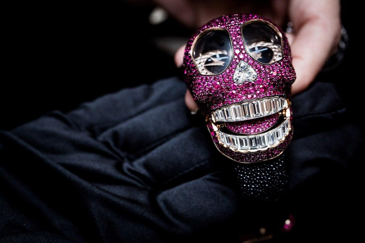 creative pink watch skull art idea