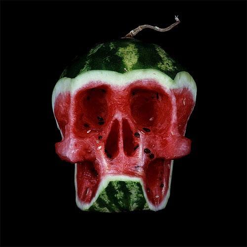 creative water melon skull art idea