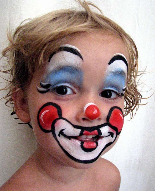 funny circus clown face painting