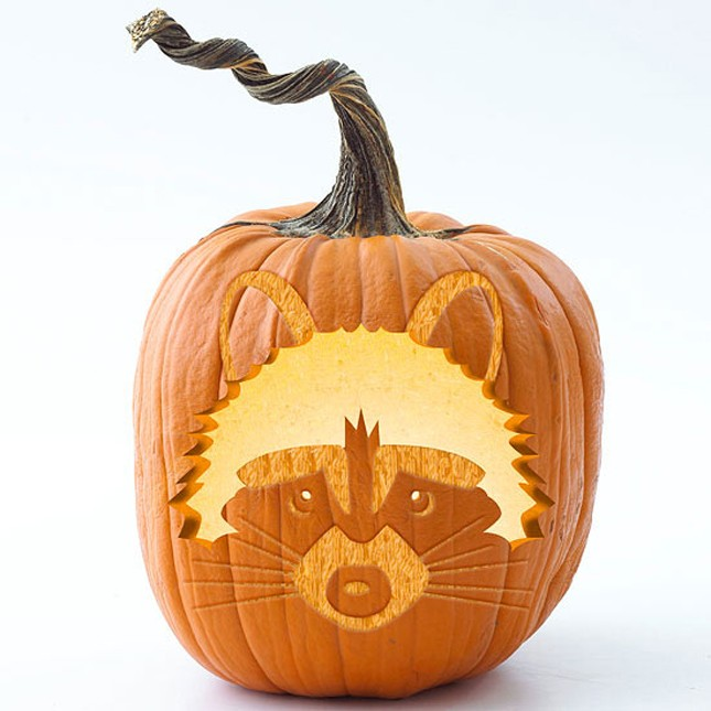 woodland stenciled pumpkin carving idea