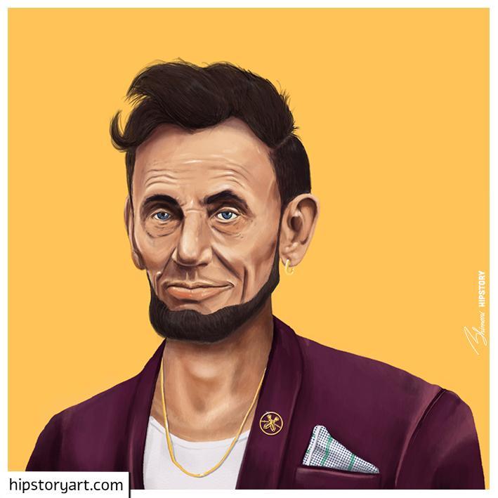 funny hipster portrait abraham lincoln amit shimoni