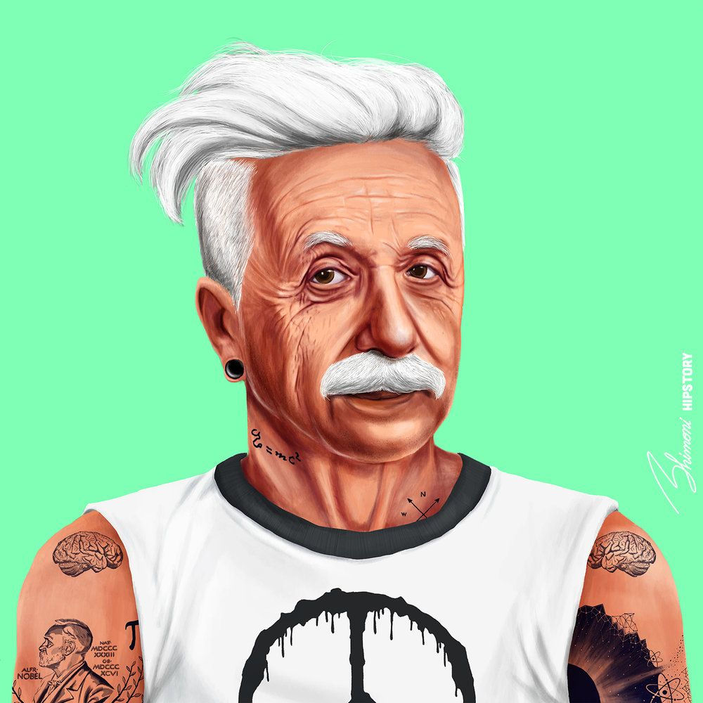 funny hipster portrait albert einstein amit shimoni