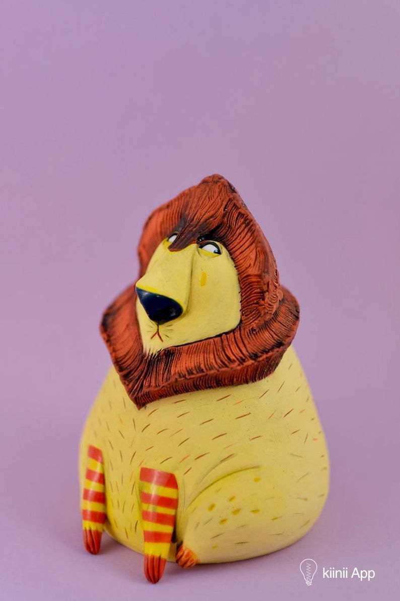 creative ceramic animal sculpture lion nastia calaca