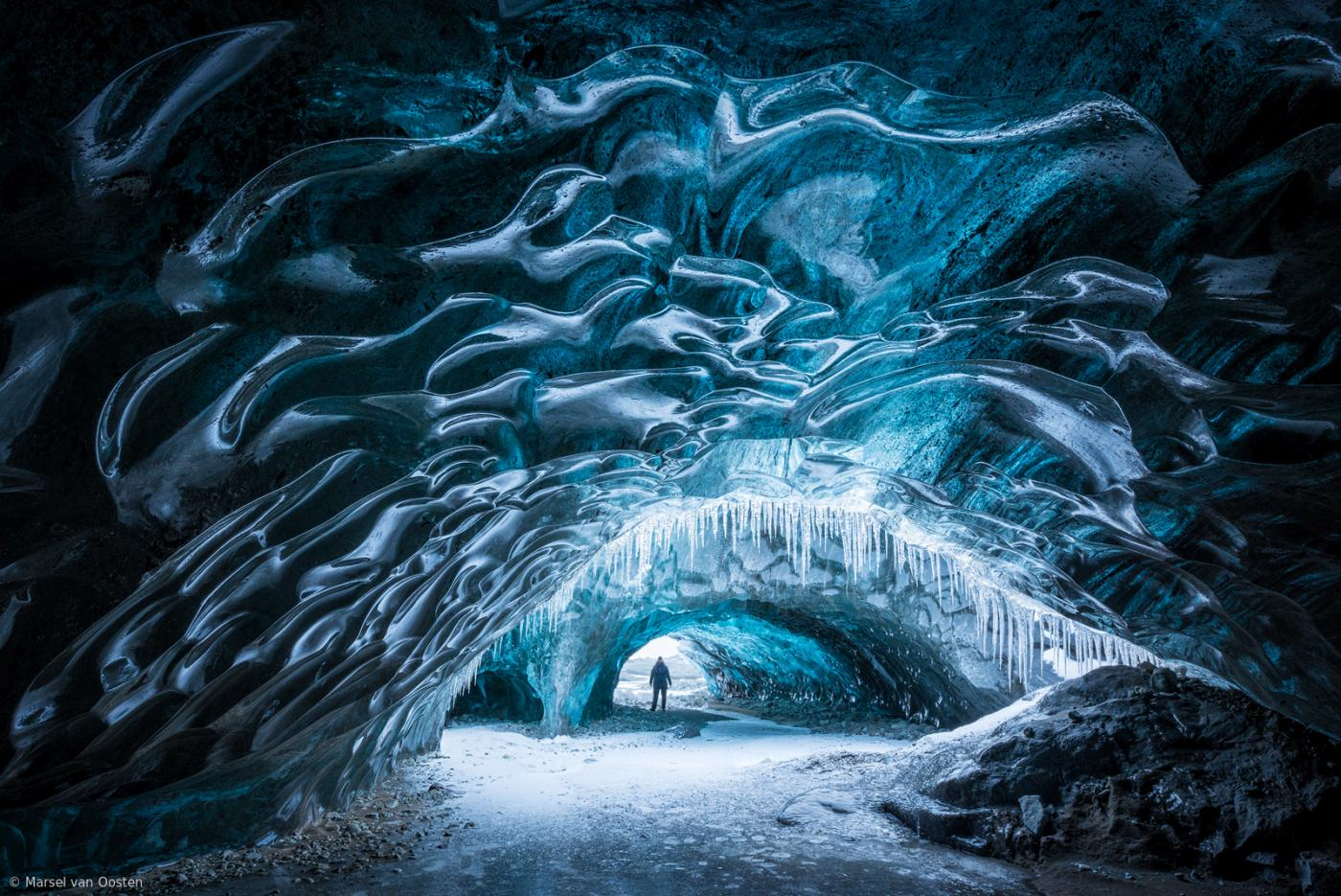 beautiful ice formation ice tunnel marsel van oosten
