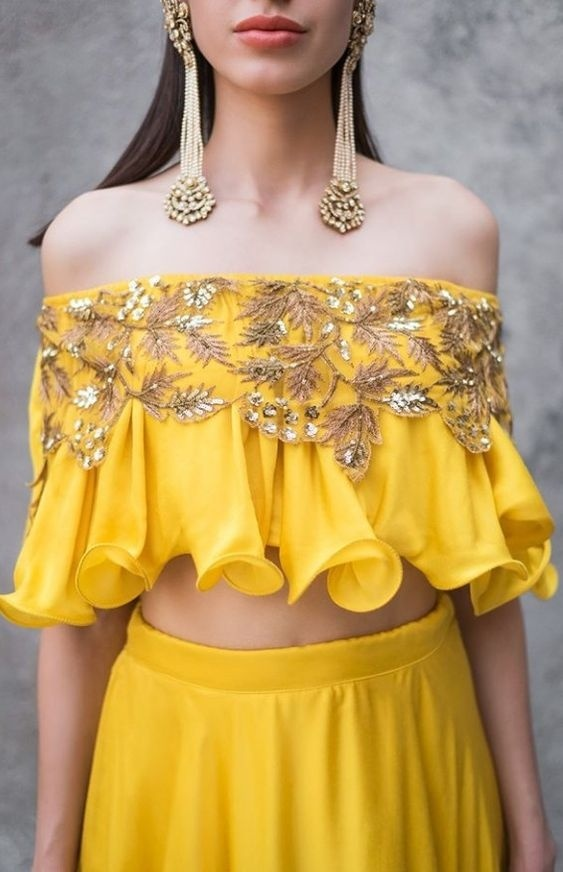 funny blouse design yellow lehenga