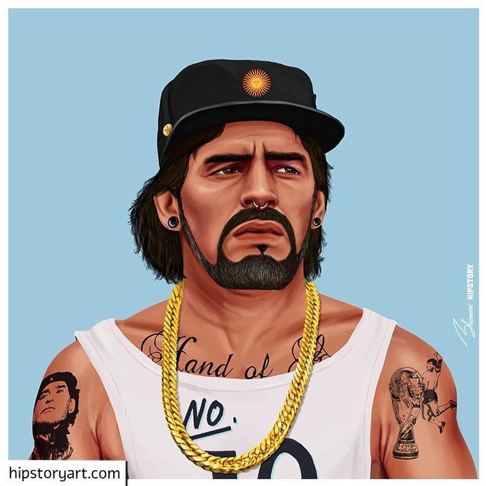 funny hipster portrait maradona amit shimoni