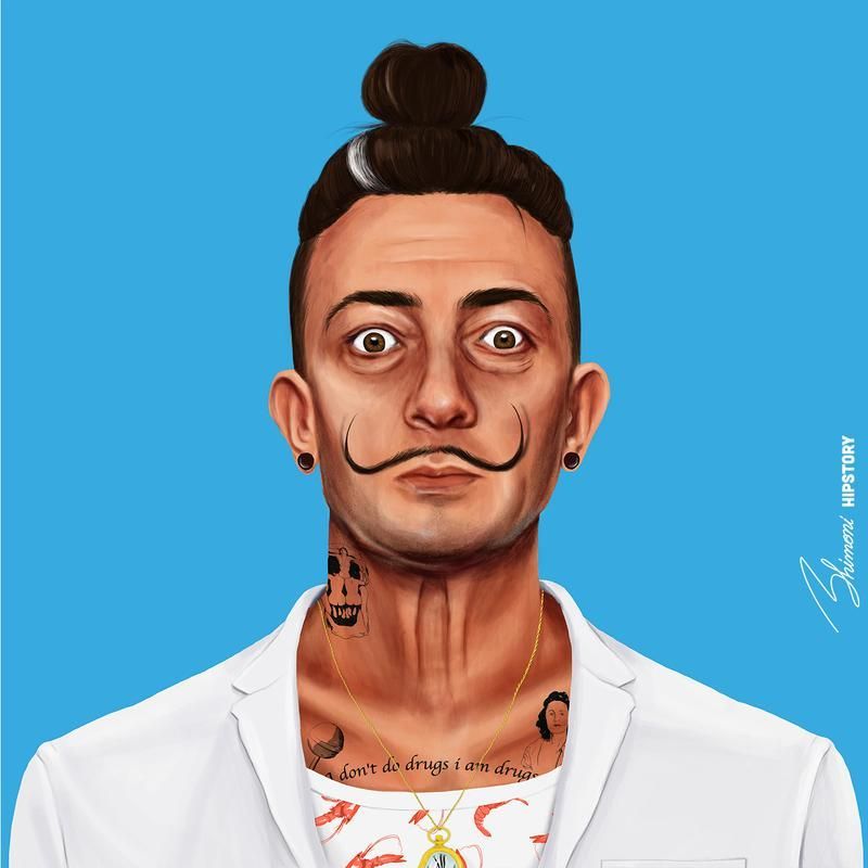 funny hipster portrait salvador dali amit shimoni