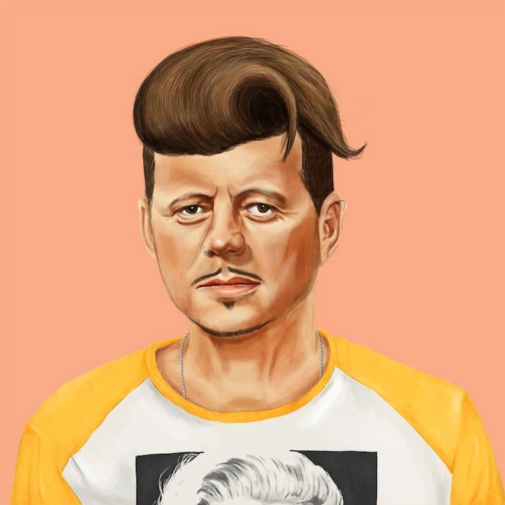 funny hipster portrait john f kennedy amit shimoni