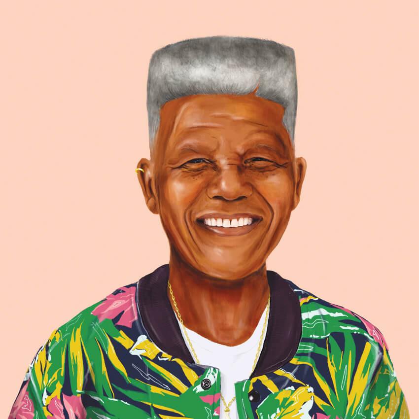 funny hipster portrait nelson mandela amit shimoni