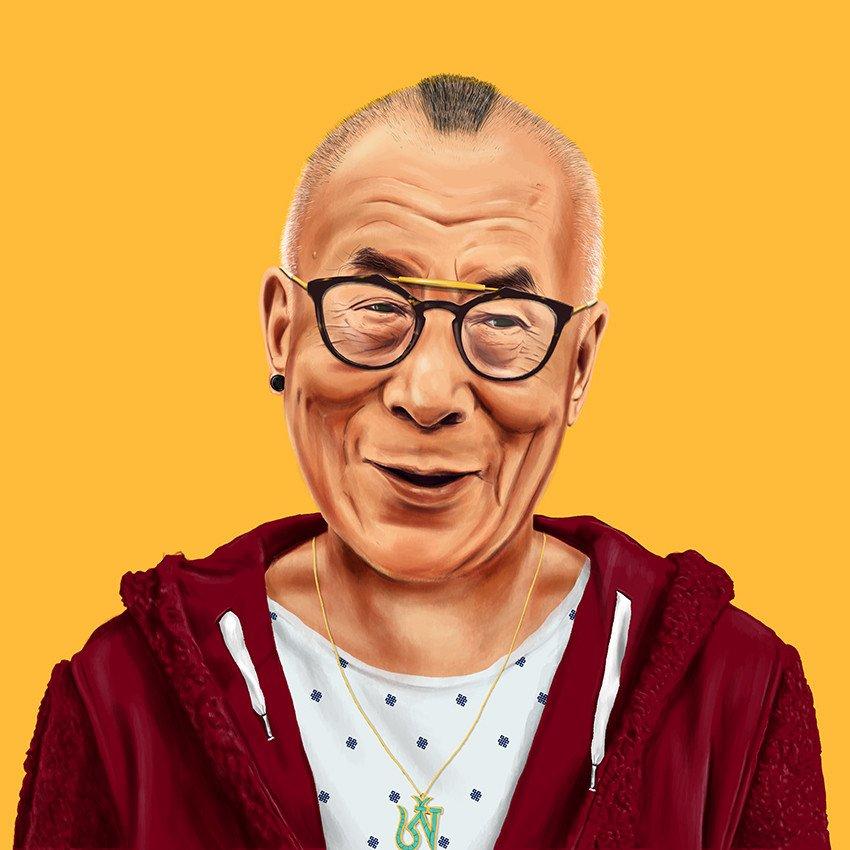 funny hipster portrait dalai lama amit shimoni