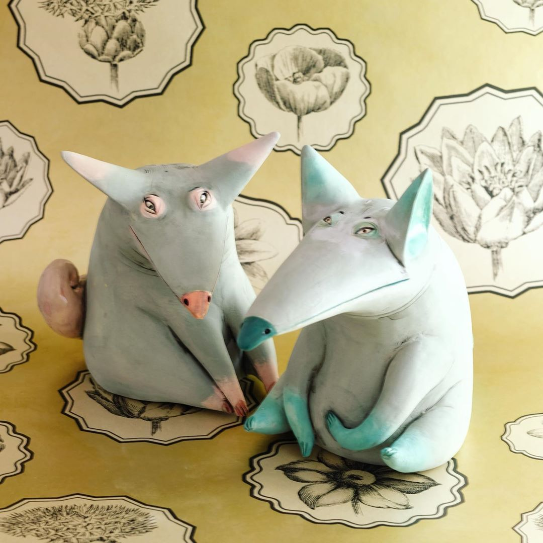 funny ceramic animal sculpture fox nastia calaca