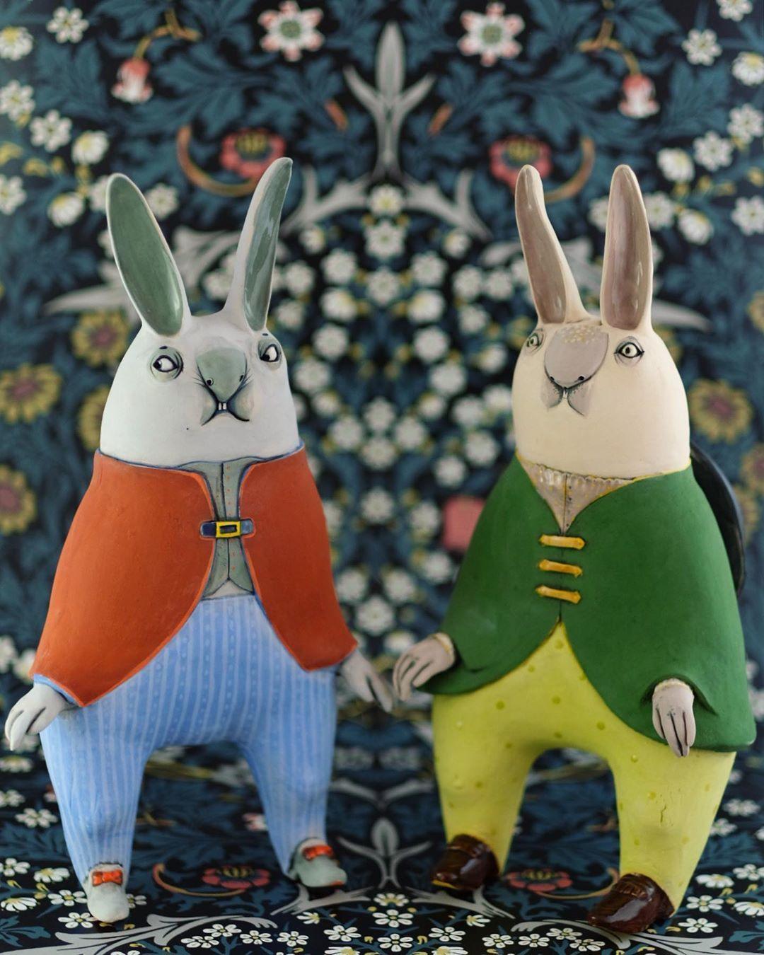ceramic animal sculpture rabbit nastia calaca