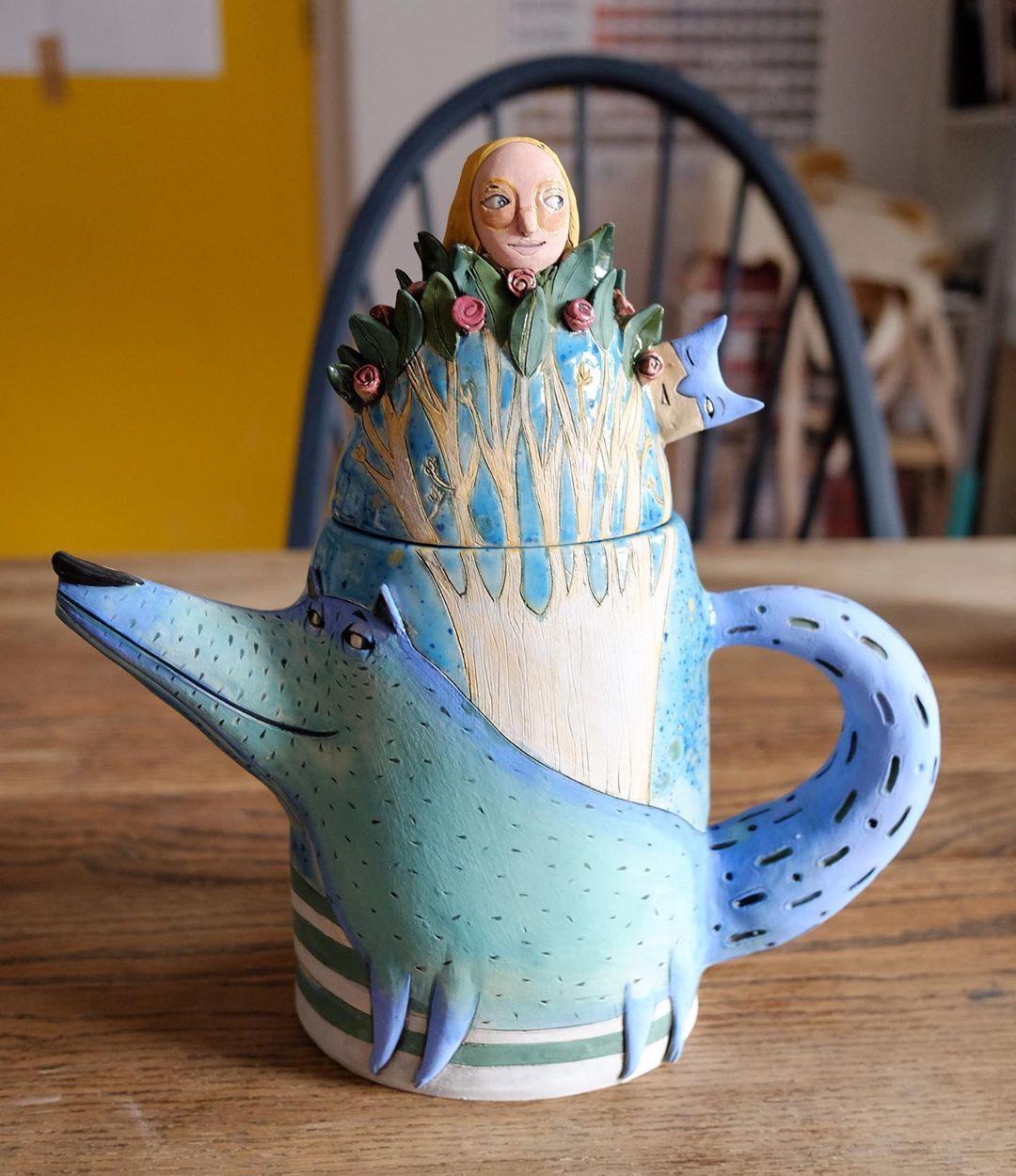 funny ceramic animal sculptures nastia calaca