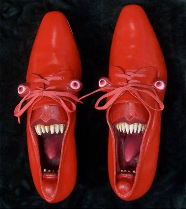 angry devil face funny shoe pictures