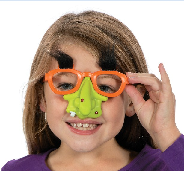 little girl wearing funny glasses picture