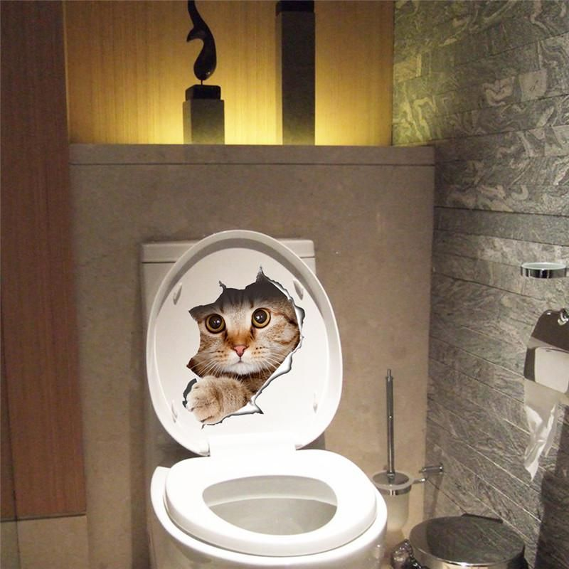 funny gift idea cat toilet sticker