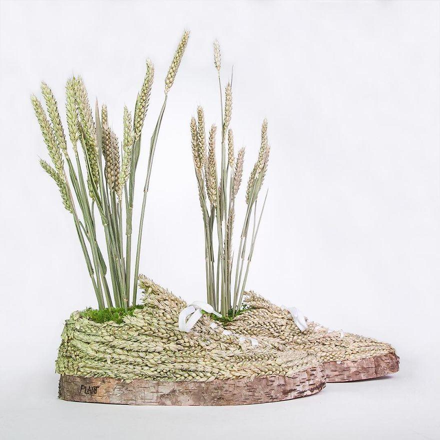 amazing nature sculpture installation shoe monsieur plant