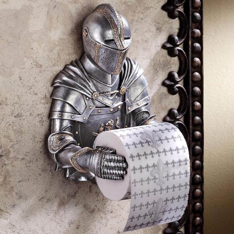 funny gift knight toilet paper holder