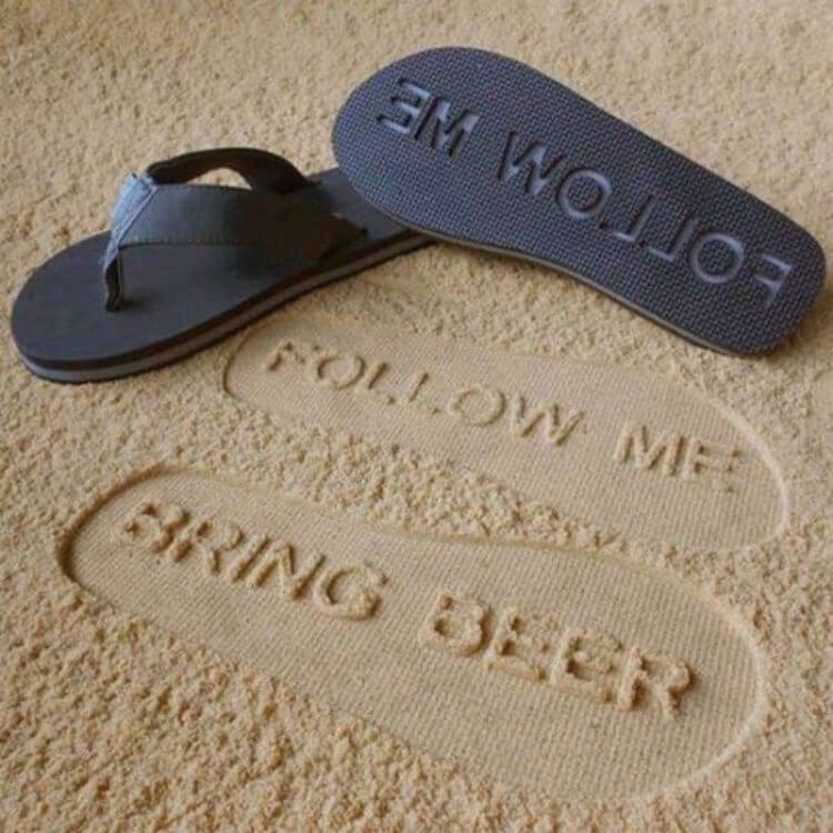 funny follow me bring beer sandals gift