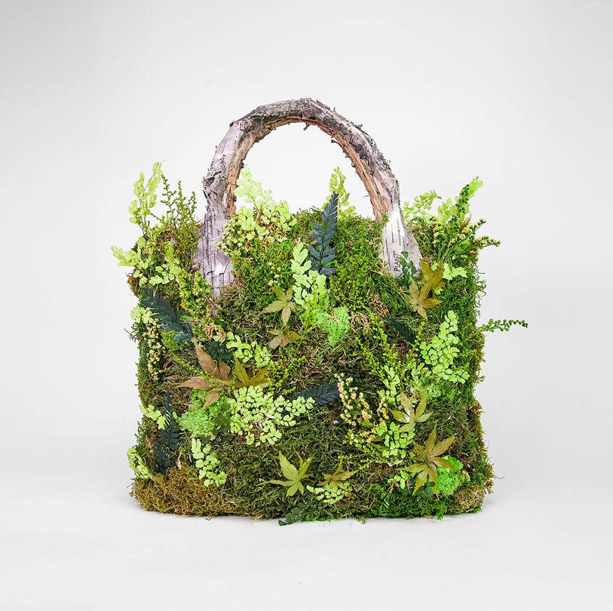 nature sculpture installation hand bag monsieur plant